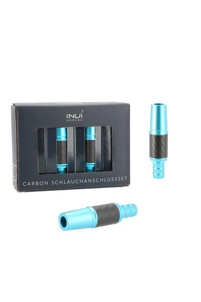 INVI Schlauchanschluss-Set Alu-Carbon Skyblue 18/8