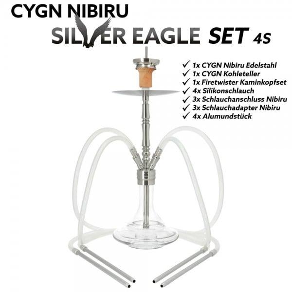 CYGN Nibiru Silver Eagle 4 Schlauch Edelstahl Silber
