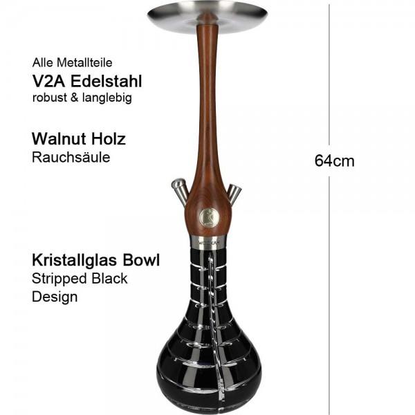 Wookah Walnut Striped Black Mastercut V2