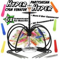 CYGN Venator 6-Schlauch Partyshisha Schwarz Hyper Hyper Set