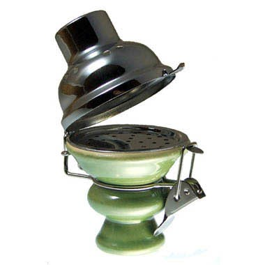 Tabakkopf mit Windschutz Grün-Chrom