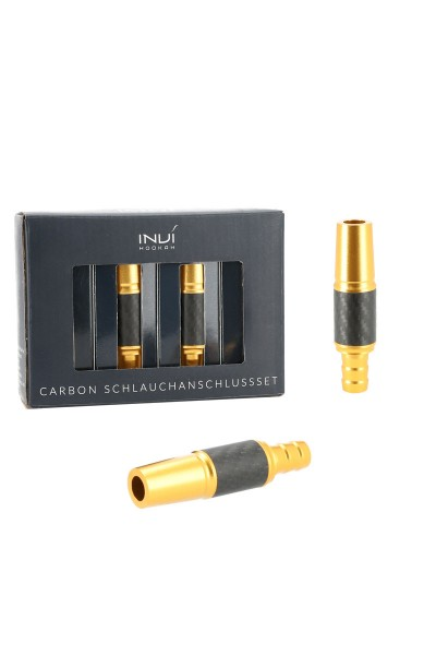 INVI Schlauchanschluss-Set Alu-Carbon Gold 18/8