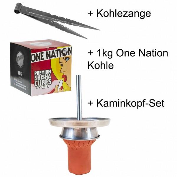 Brohood Profi Kaminkopfset + 1kg Kohle + Spitzzange