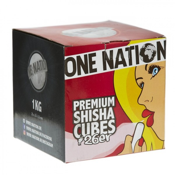 One Nation Premium Shisha Cubes 26er Naturkohle 1kg