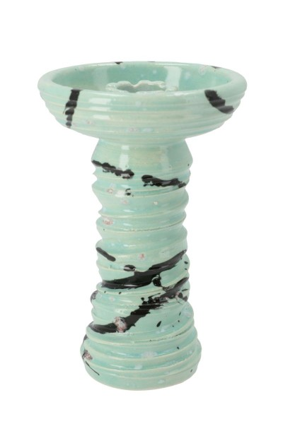 Stone Hookah Tabakkopf Fastball Striped Turquoise Red Sparkles