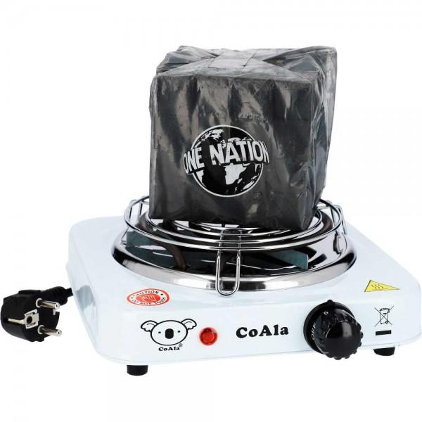 CoAla Elektrischer Kohleanzünder + Kohlegitter + 1kg Kohle
