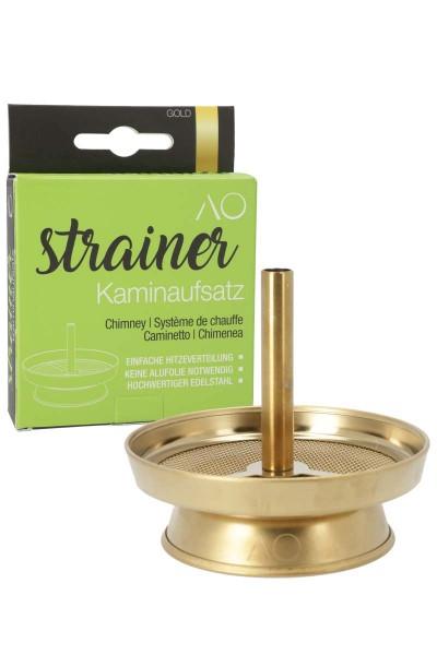 AO Strainer Kaminaufsatz Edelstahl Gold